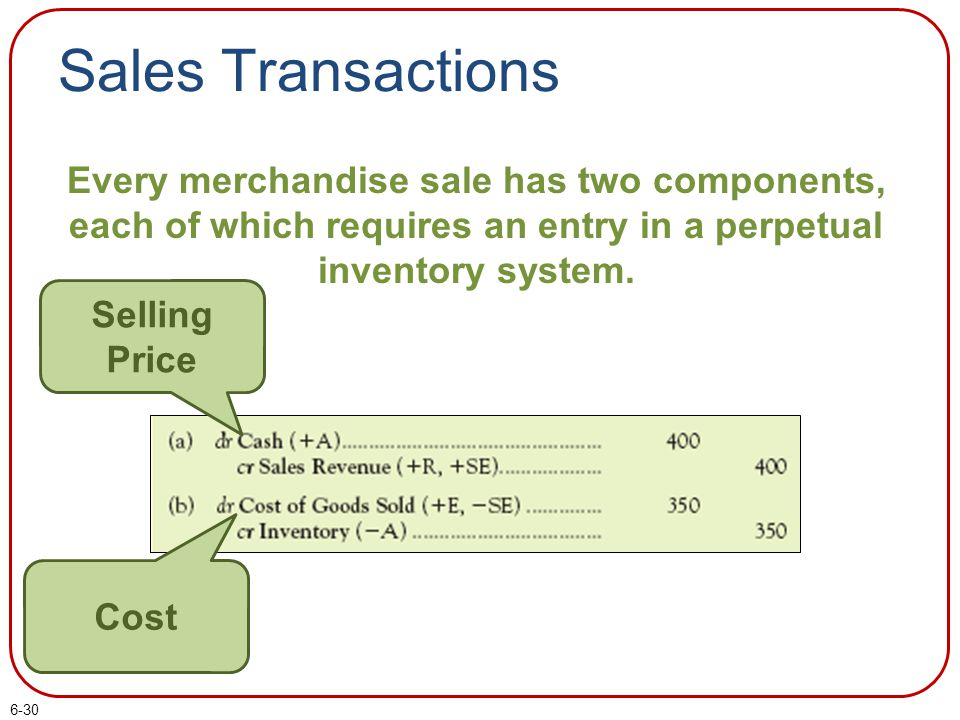 Sales Transactions Every merchandise sale has two components, each of which requires an entry in a perpetual inventory system.