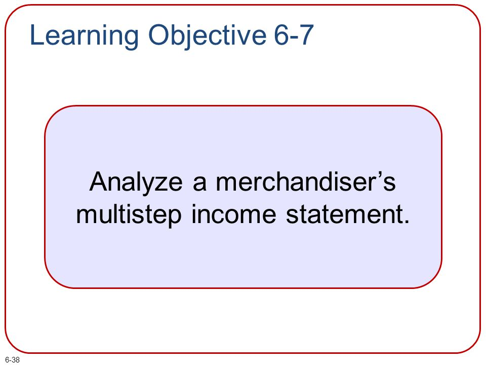 Analyze a merchandiser's multistep income statement.