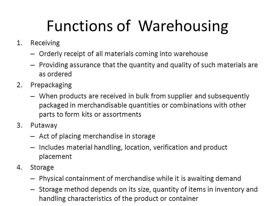 Functions of Warehousing