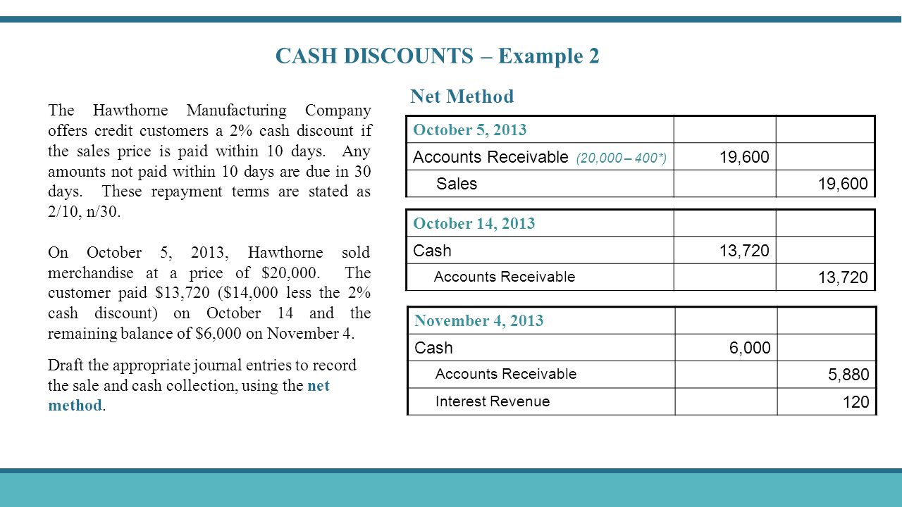 CASH DISCOUNTS – Example 2