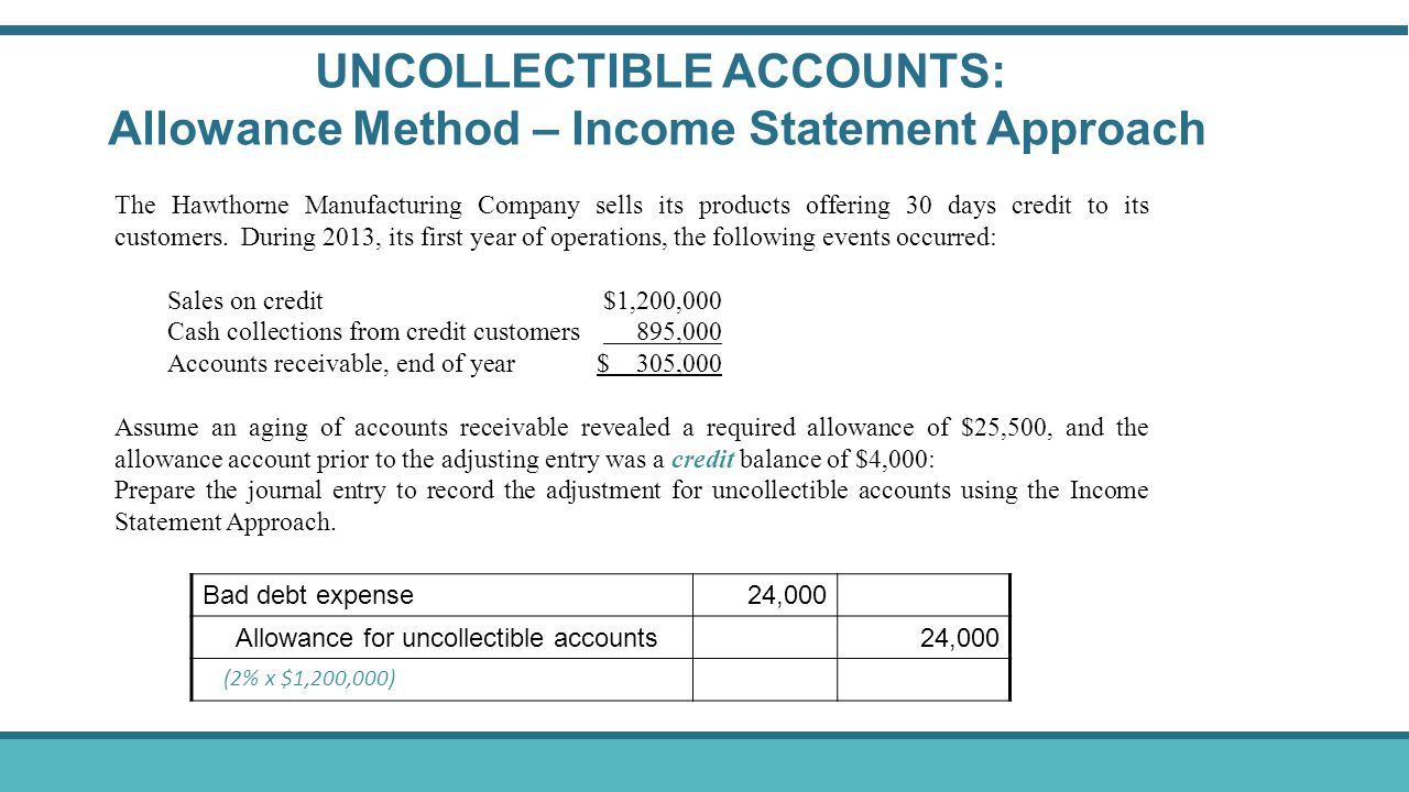 UNCOLLECTIBLE ACCOUNTS: Allowance Method – Income Statement Approach