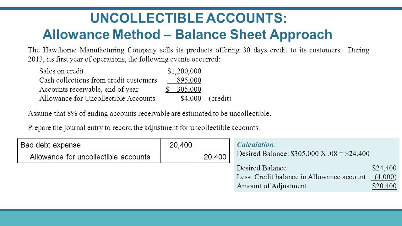 UNCOLLECTIBLE ACCOUNTS: Allowance Method – Balance Sheet Approach