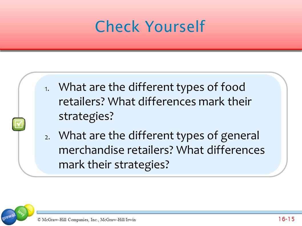 Check Yourself What are the different types of food retailers What differences mark their strategies