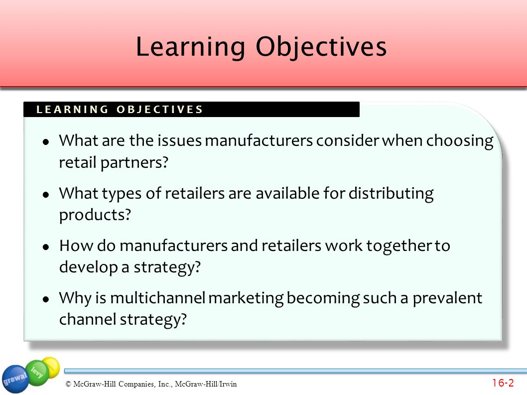 Learning Objectives What are the issues manufacturers consider when choosing retail partners
