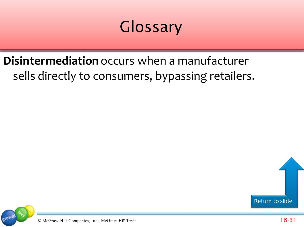 Glossary Disintermediation occurs when a manufacturer sells directly to consumers, bypassing retailers.