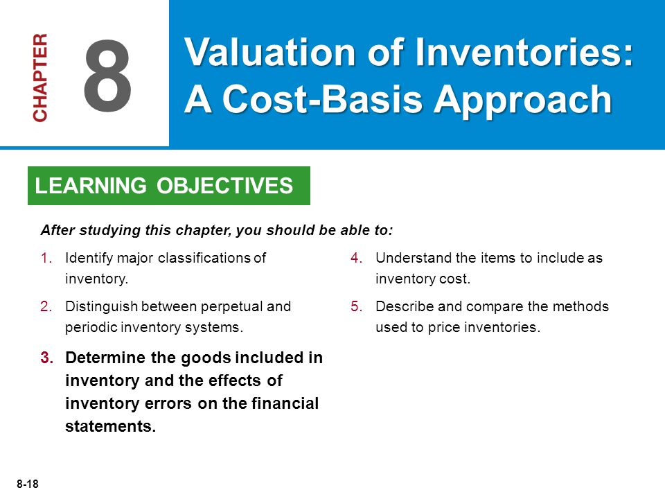 8 Valuation of Inventories: A Cost-Basis Approach LEARNING OBJECTIVES