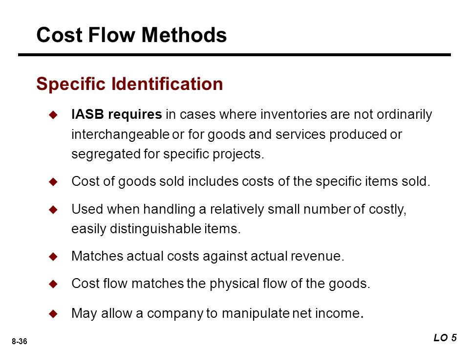 Cost Flow Methods Specific Identification