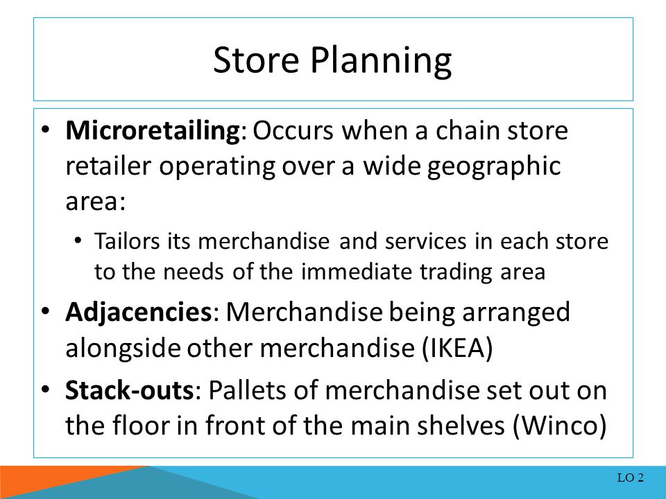 Store Planning Microretailing: Occurs when a chain store retailer operating over a wide geographic area: