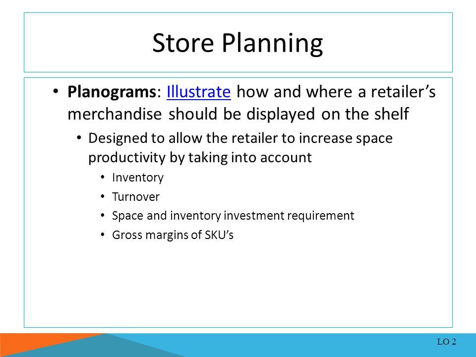 Store Planning Planograms: Illustrate how and where a retailer's merchandise should be displayed on the shelf.