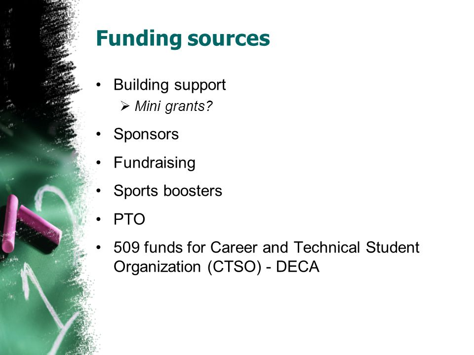 Funding sources Building support Sponsors Fundraising Sports boosters