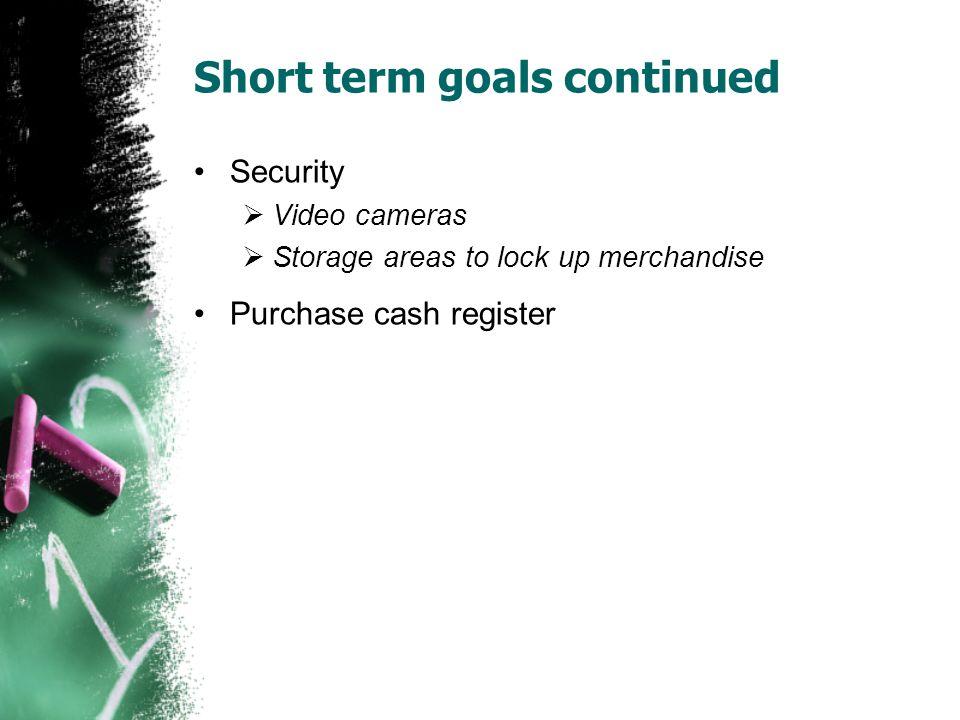 Short term goals continued