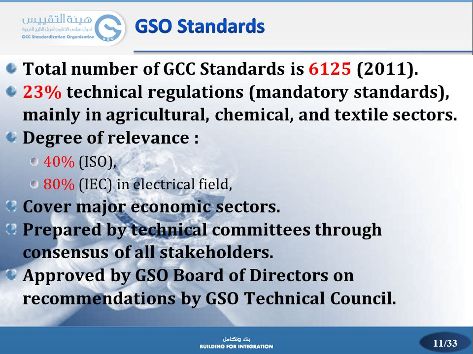 GSO Standards Total number of GCC Standards is 6125 (2011).