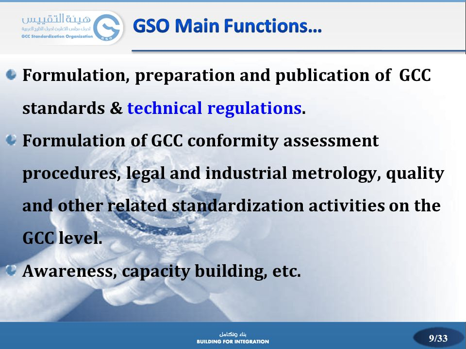 GSO Main Functions… Formulation, preparation and publication of GCC standards & technical regulations.