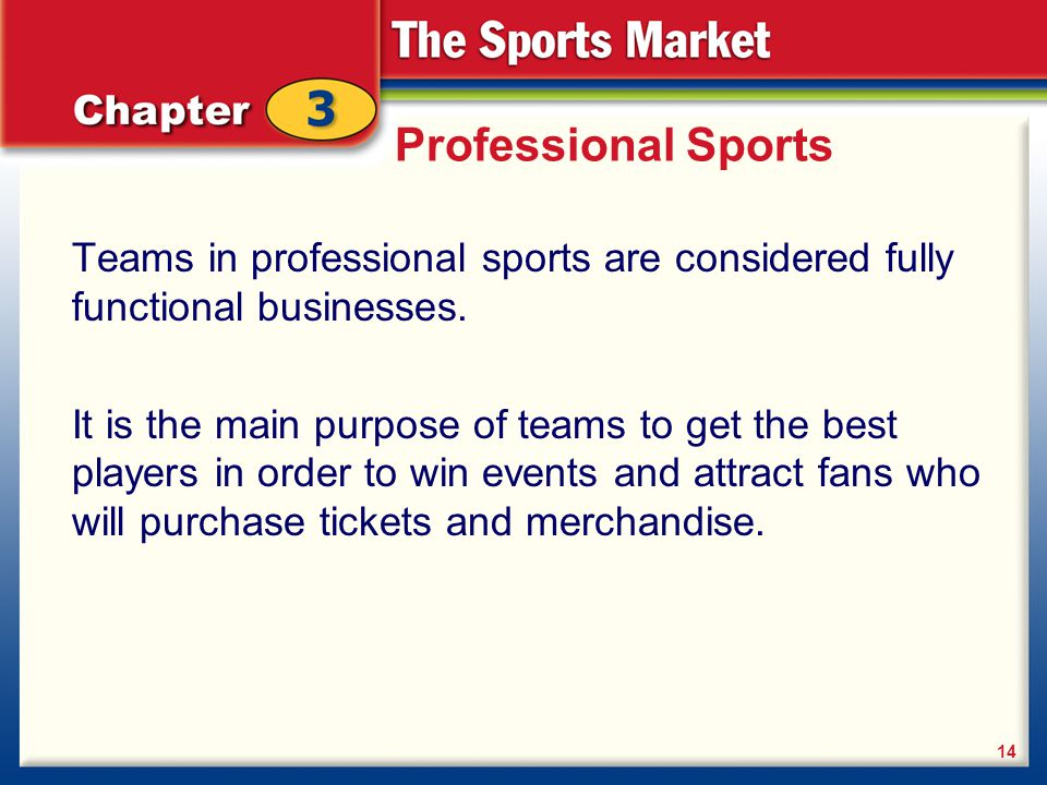 Professional Sports Teams in professional sports are considered fully functional businesses.