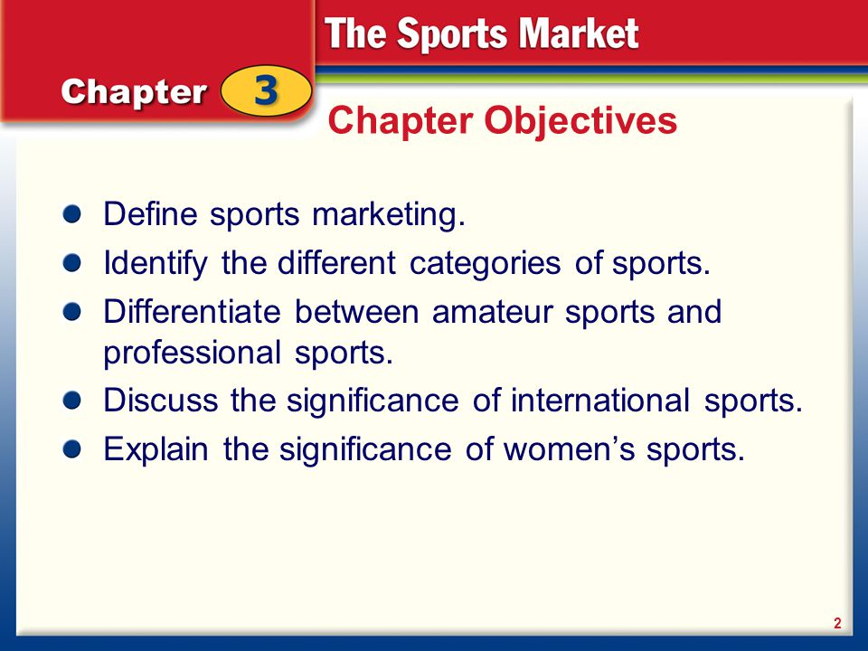 Chapter Objectives Define sports marketing.