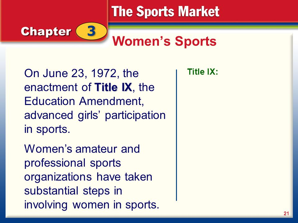 Women's Sports On June 23, 1972, the enactment of Title IX, the Education Amendment, advanced girls' participation in sports.