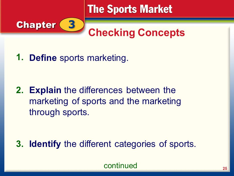 Checking Concepts 1. Define sports marketing. 2.