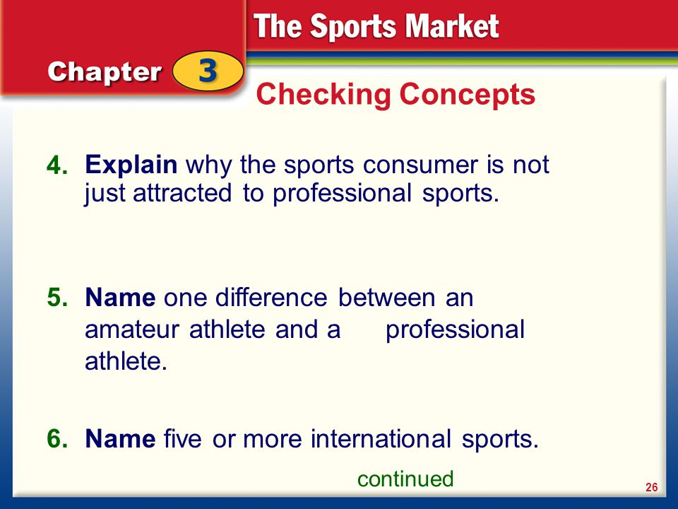 Checking Concepts 4. Explain why the sports consumer is not just attracted to professional sports.