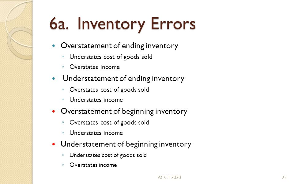 6a. Inventory Errors Overstatement of ending inventory