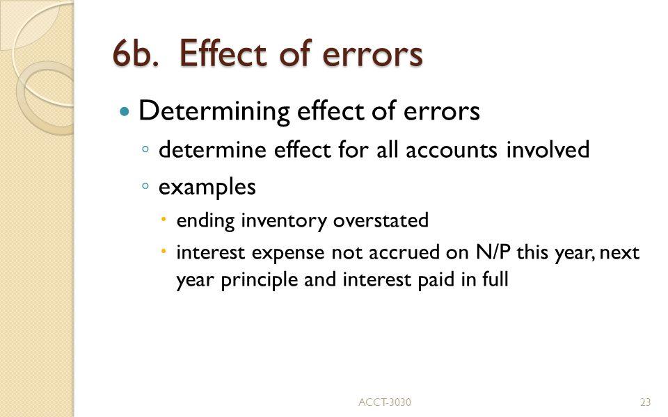 6b. Effect of errors Determining effect of errors