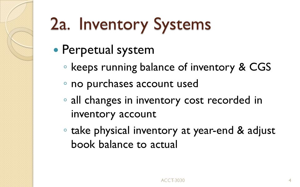 2a. Inventory Systems Perpetual system
