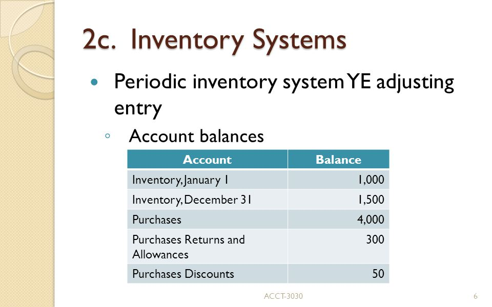 2c. Inventory Systems Periodic inventory system YE adjusting entry