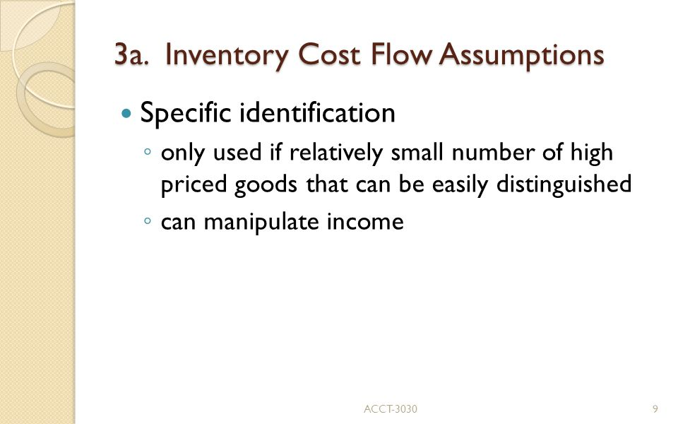 3a. Inventory Cost Flow Assumptions
