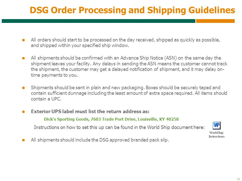 DSG Order Processing and Shipping Guidelines