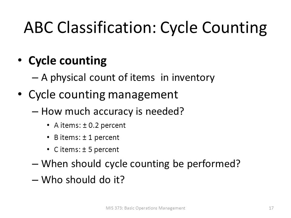 ABC Classification: Cycle Counting