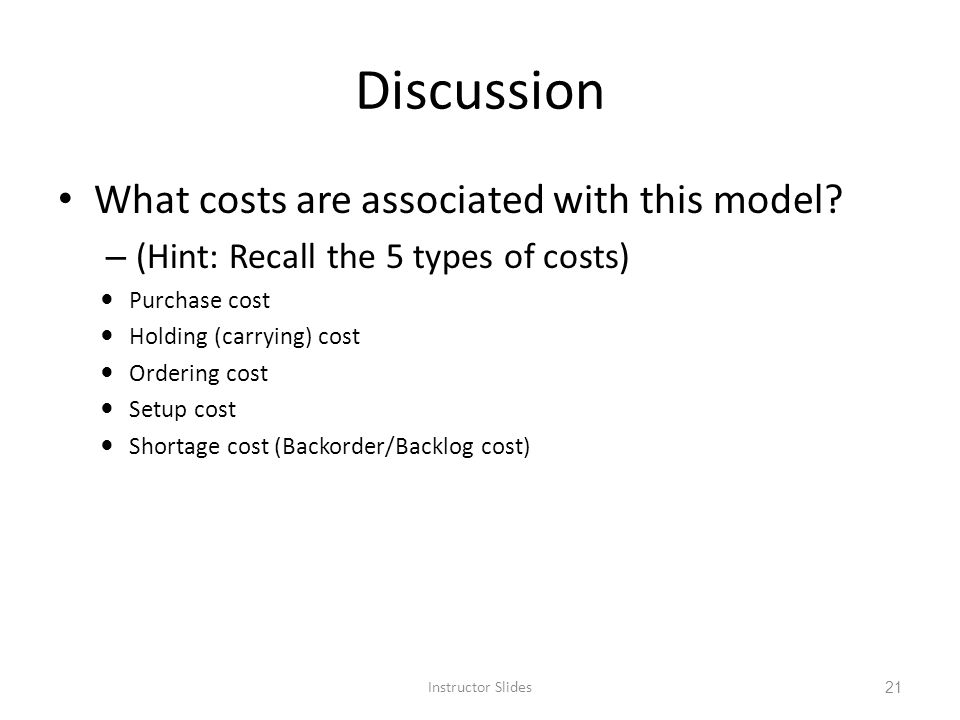 Discussion What costs are associated with this model
