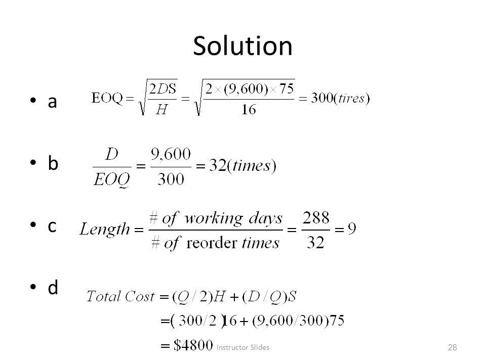 Solution a b c d Instructor Slides
