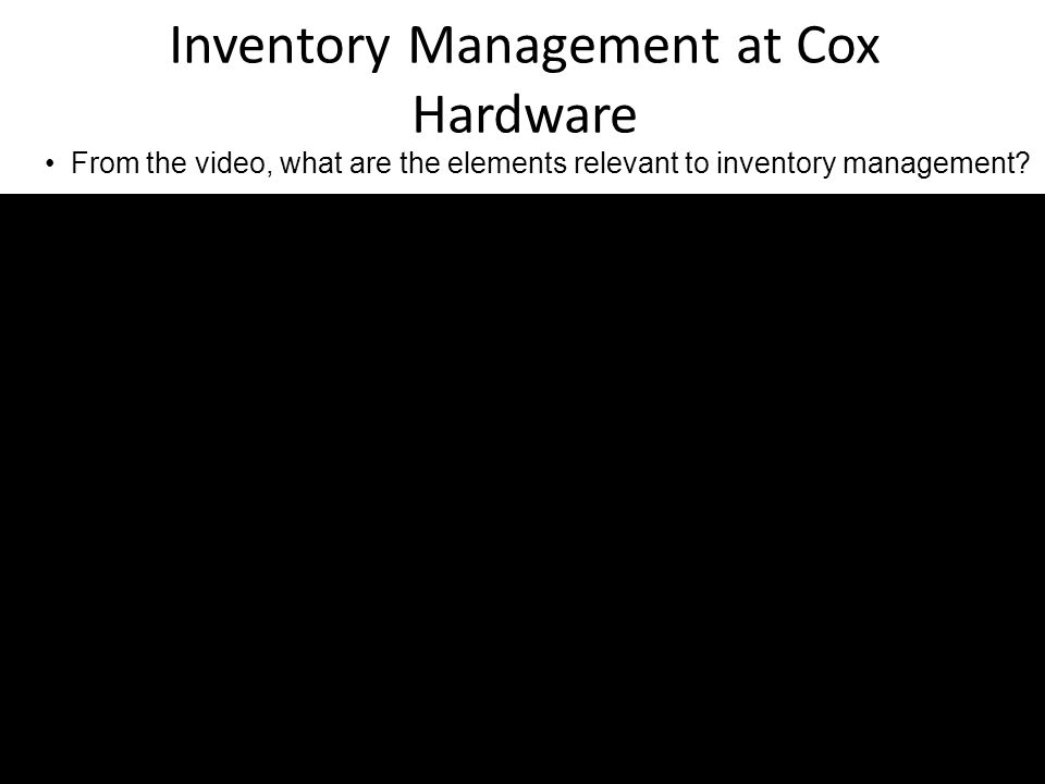 Inventory Management at Cox Hardware