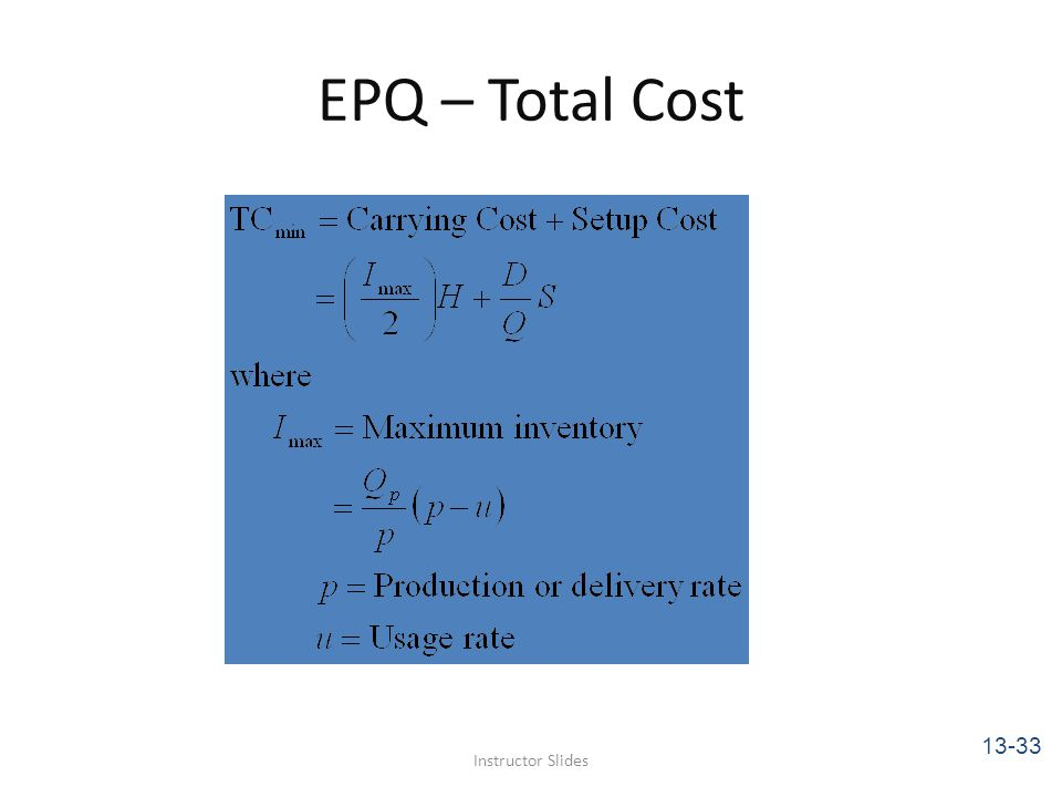 EPQ – Total Cost 13-33 Instructor Slides