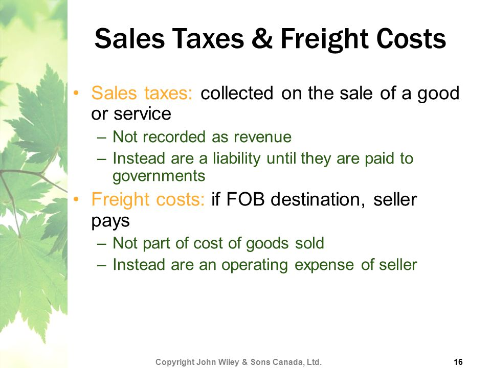 Sales Taxes & Freight Costs