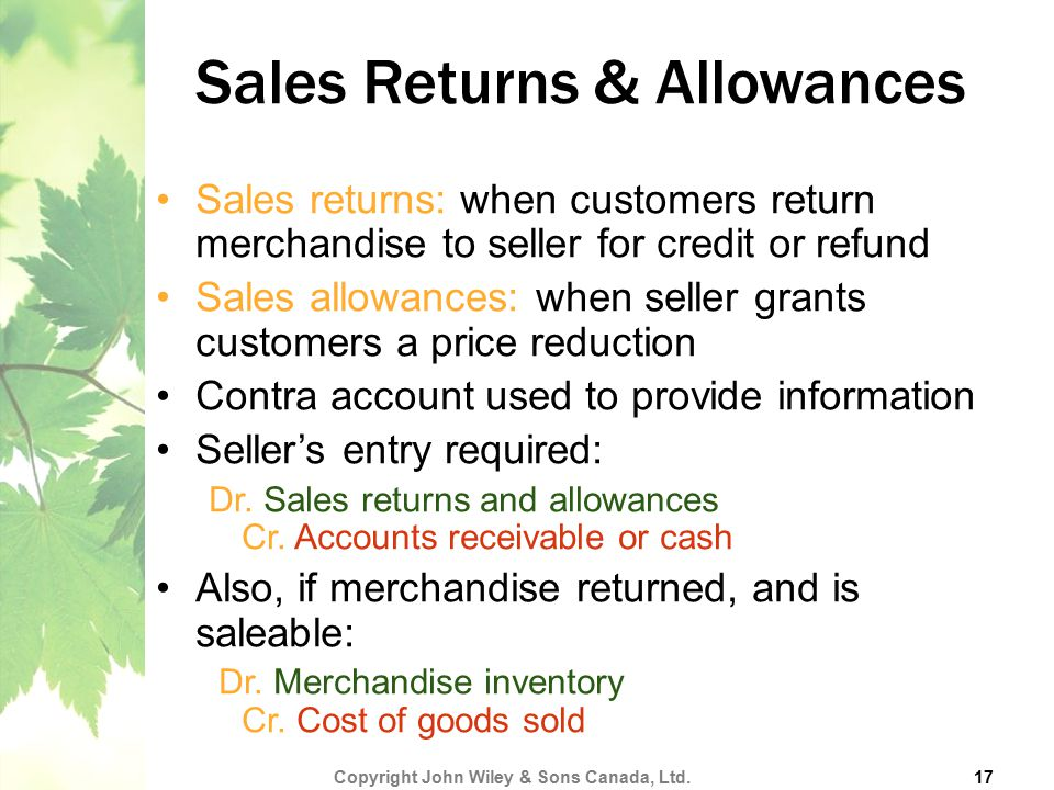 Sales Returns & Allowances