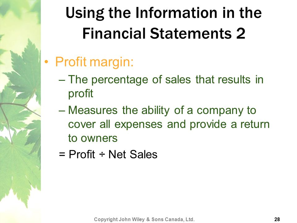 Using the Information in the Financial Statements 2