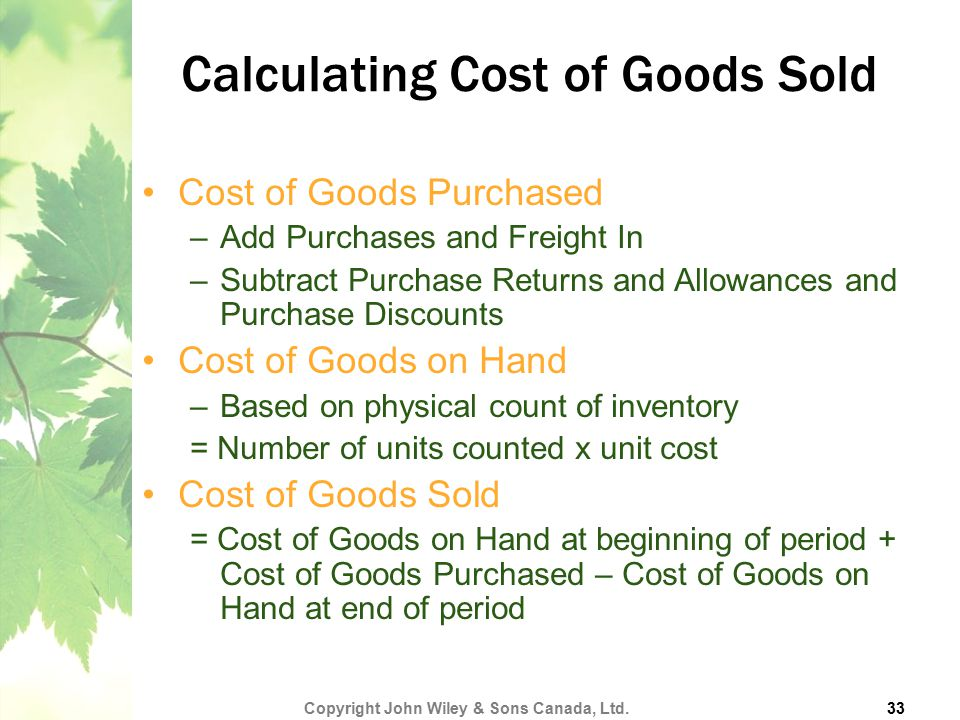Calculating Cost of Goods Sold