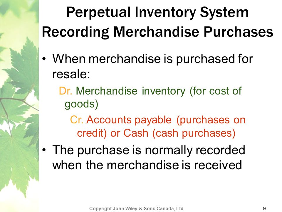 Perpetual Inventory System Recording Merchandise Purchases