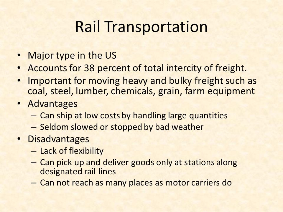 Rail Transportation Major type in the US