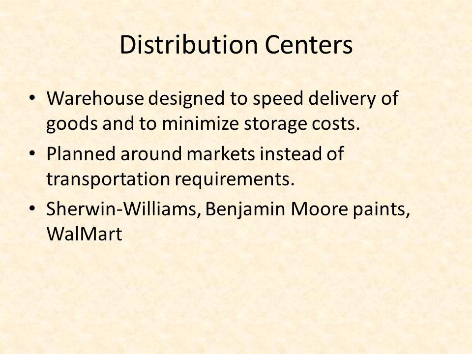 Distribution Centers Warehouse designed to speed delivery of goods and to minimize storage costs.