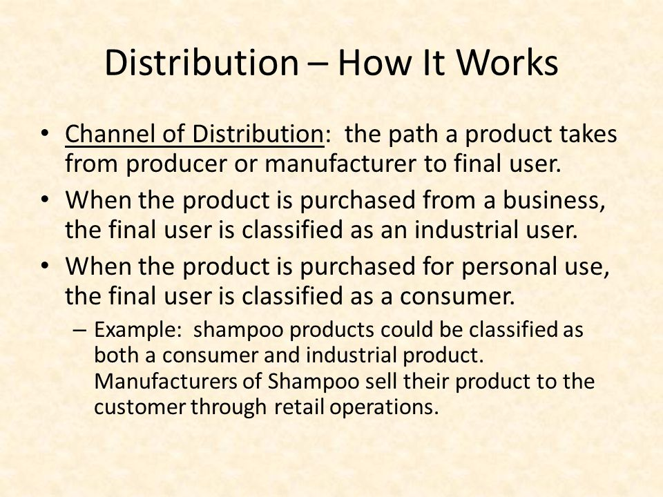 Distribution – How It Works