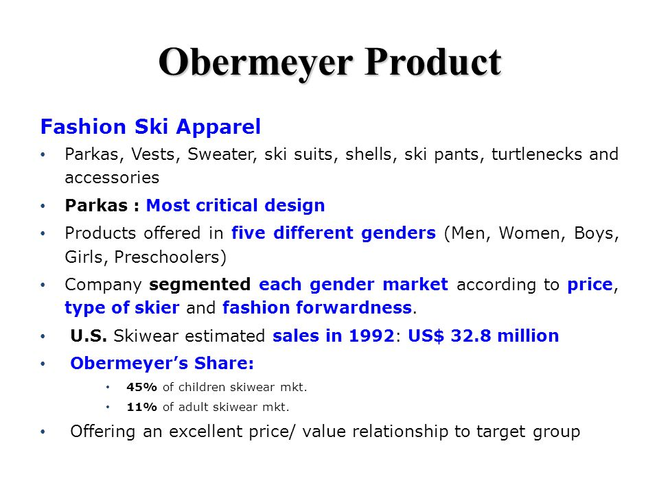 Obermeyer Product Fashion Ski Apparel