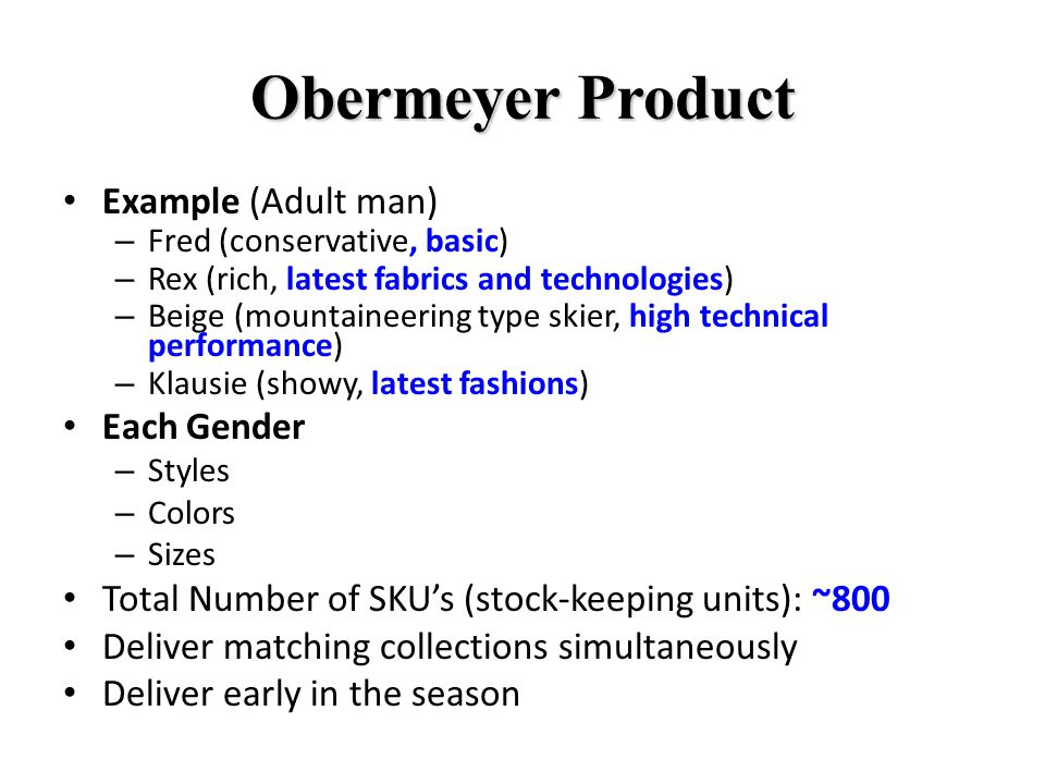 Obermeyer Product Example (Adult man) Each Gender