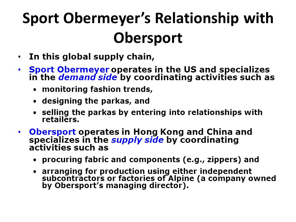 sport obermeyer case analysis essay 1- what makes supply chain management at sport obermeyer so challenging  the biggest challenge sport obermeyer is facing is uncertainty.