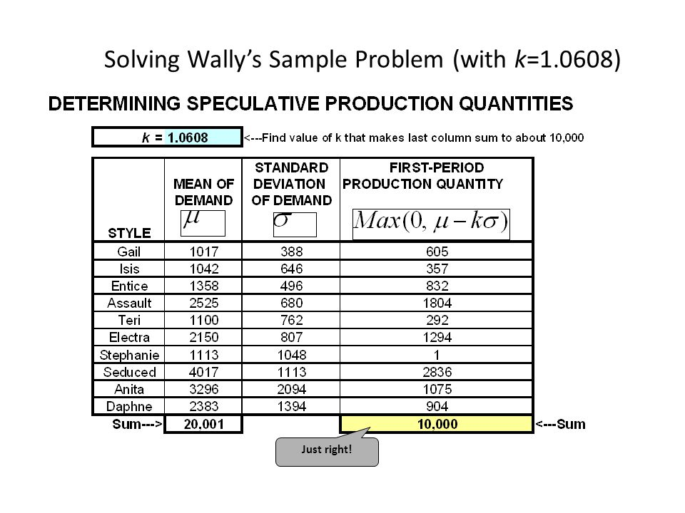 Solving Wally's Sample Problem (with k=1.0608)