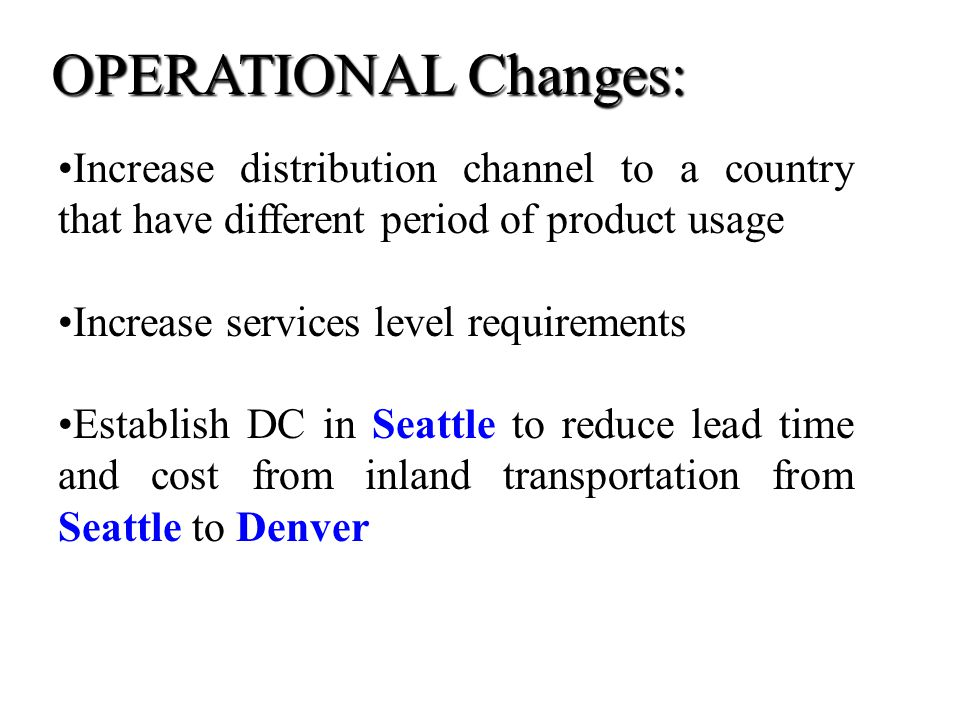 OPERATIONAL Changes: Increase distribution channel to a country that have different period of product usage.