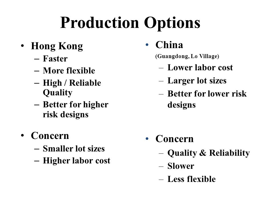 Production Options China Hong Kong Concern Concern Faster