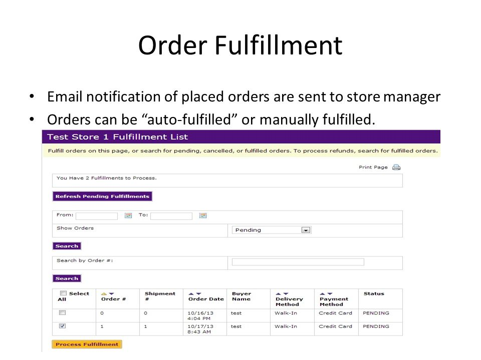 Order Fulfillment Email notification of placed orders are sent to store manager.