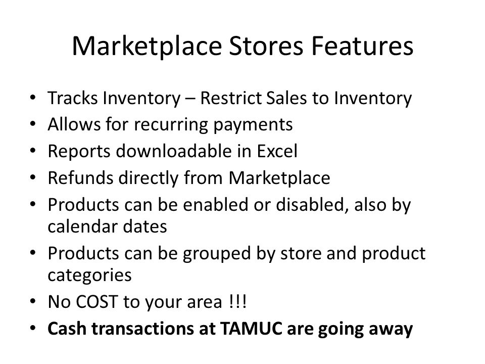 Marketplace Stores Features