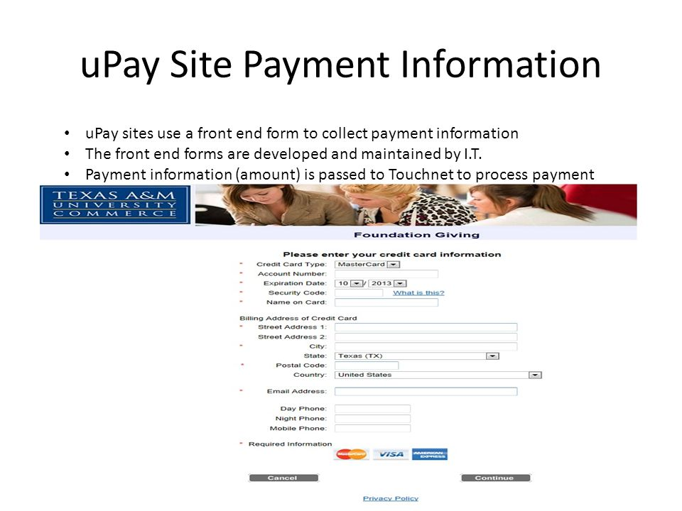 uPay Site Payment Information
